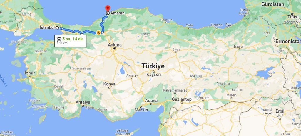 İstanbul Amasra Arası Kaç KM