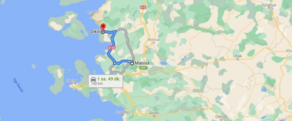 Manisa Dikili Arası Kaç KM
