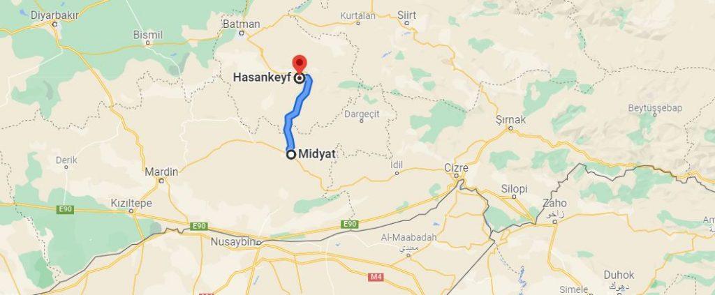 Midyat Hasankeyf Arası Kaç KM