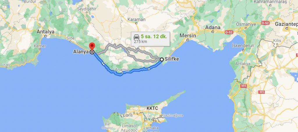 Silifke Alanya Arası Kaç KM