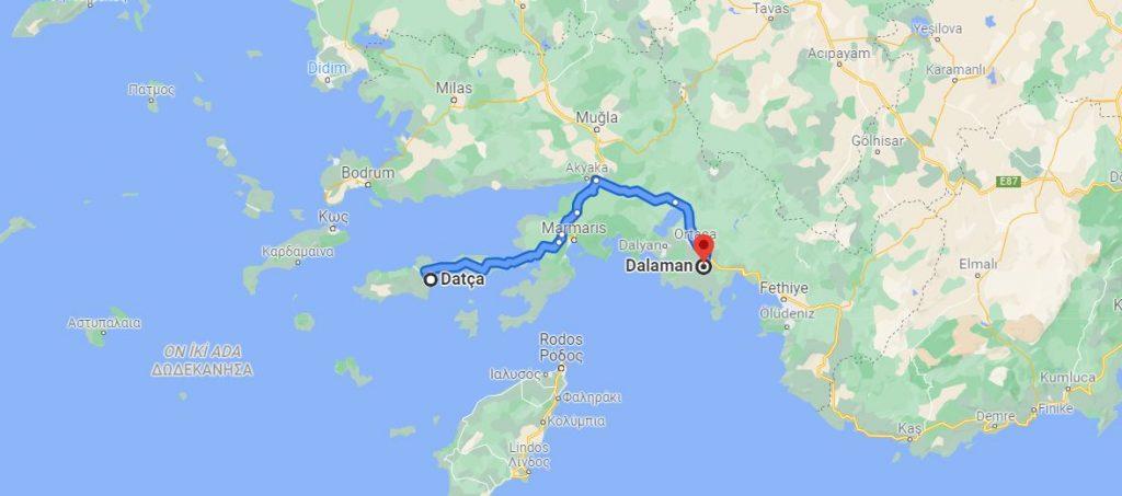 Datça Dalaman Arası Kaç KM