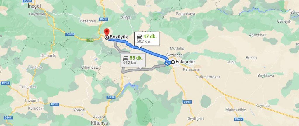 Eskişehir Bozüyük Arası Kaç KM