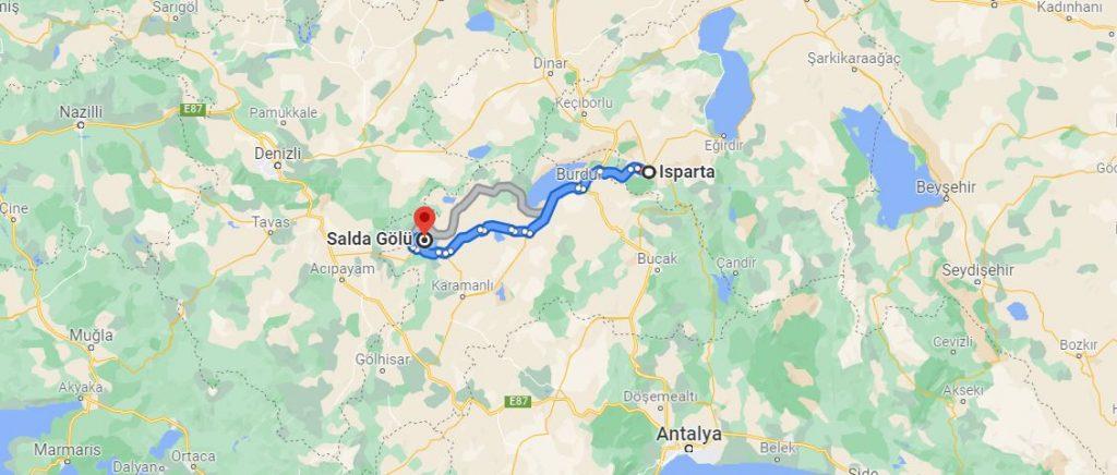 Isparta Salda Gölü Arası Kaç KM