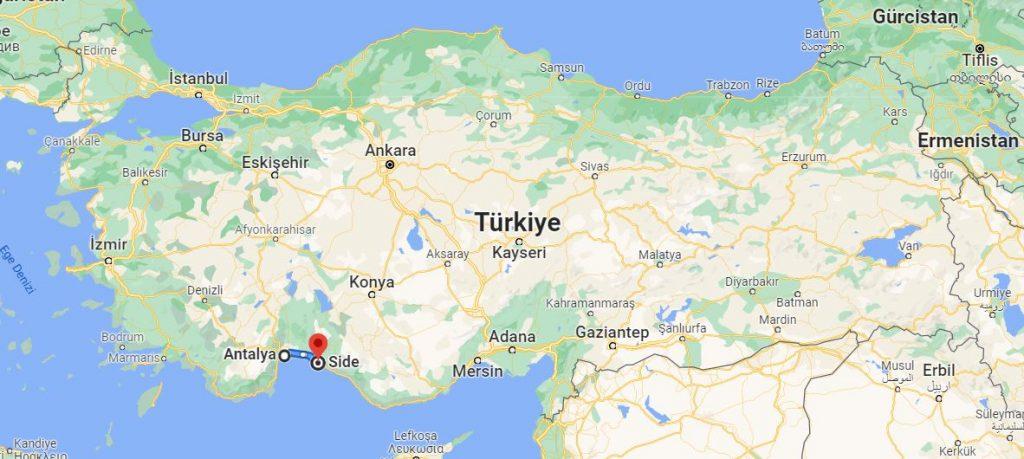 Antalya Side Arası Kaç KM