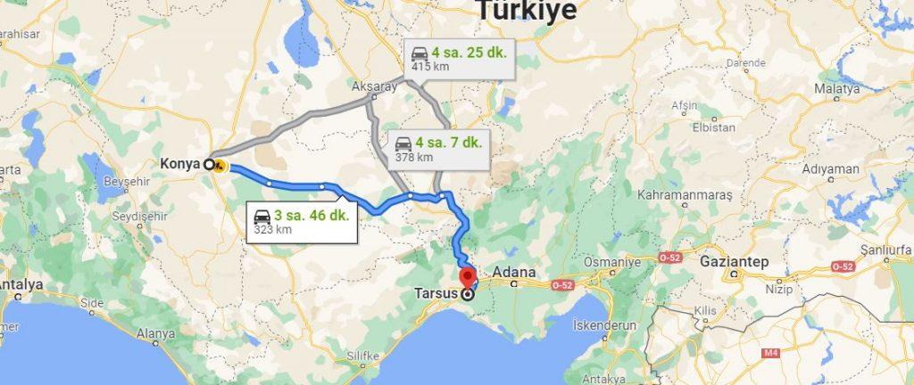 Konya Tarsus Arası Kaç KM