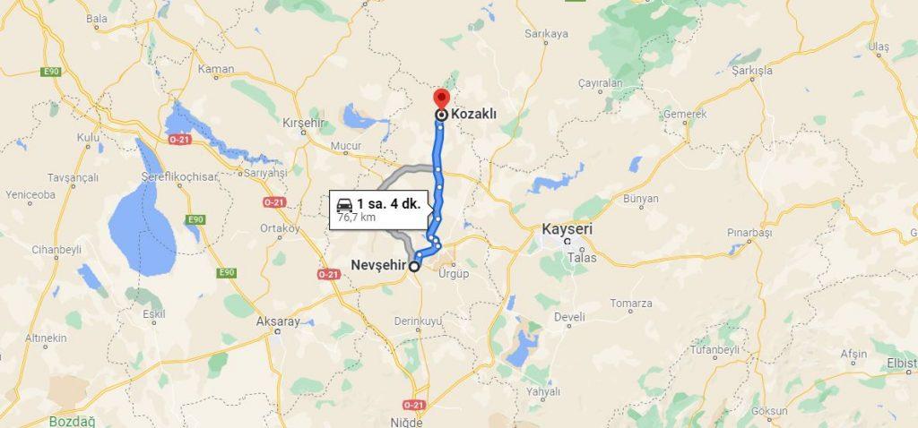 Nevşehir Kozaklı Arası Kaç KM