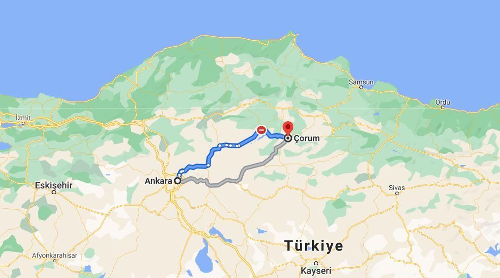 Ankara Çorum Arası Kaç KM
