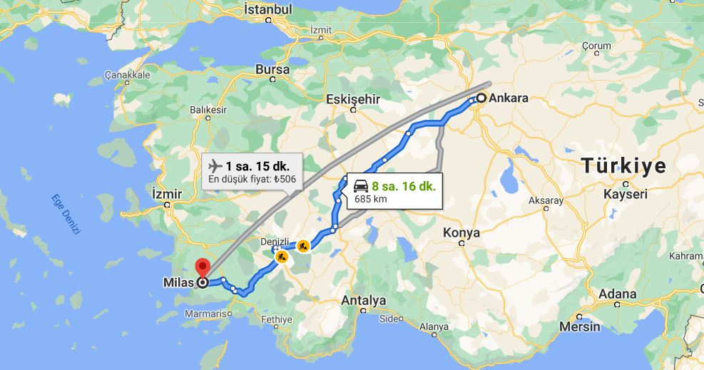 Ankara Milas Arası Kaç KM
