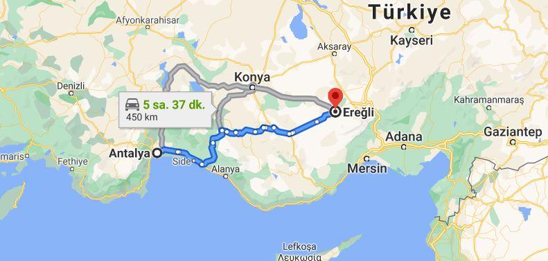 Antalya Ereğli Arası Kaç KM