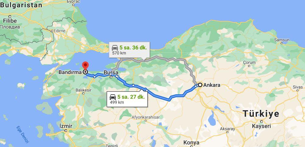 Bandırma Ankara Arası Kaç KM