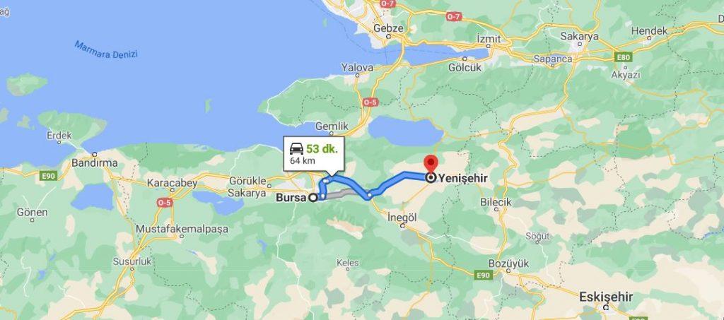 Bursa Yenişehir Arası Kaç KM