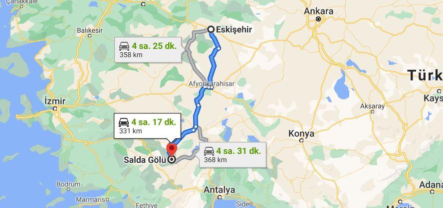 Eskişehir Salda Gölü Arası Kaç KM