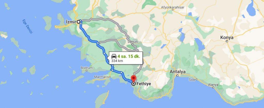 İzmir Fethiye Arası Kaç KM