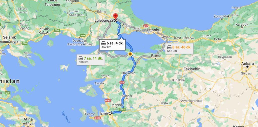 İzmir Lüleburgaz Arası Kaç KM