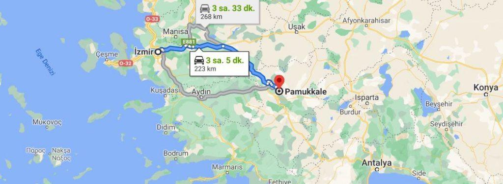 İzmir Pamukkale Arası Kaç KM