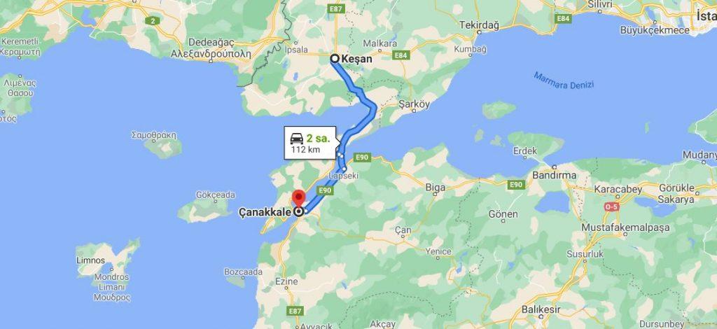 Keşan Çanakkale Arası Kaç KM