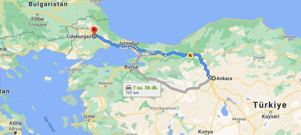 Lüleburgaz Ankara Arası Kaç KM