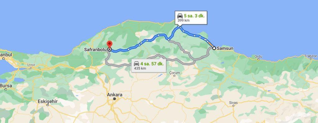 Samsun Safranbolu Arası Kaç KM