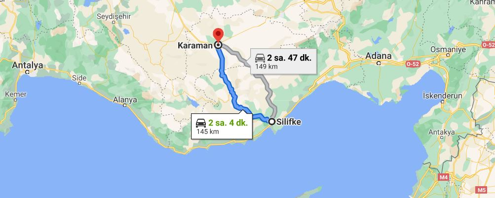 Silifke Karaman Arası Kaç KM