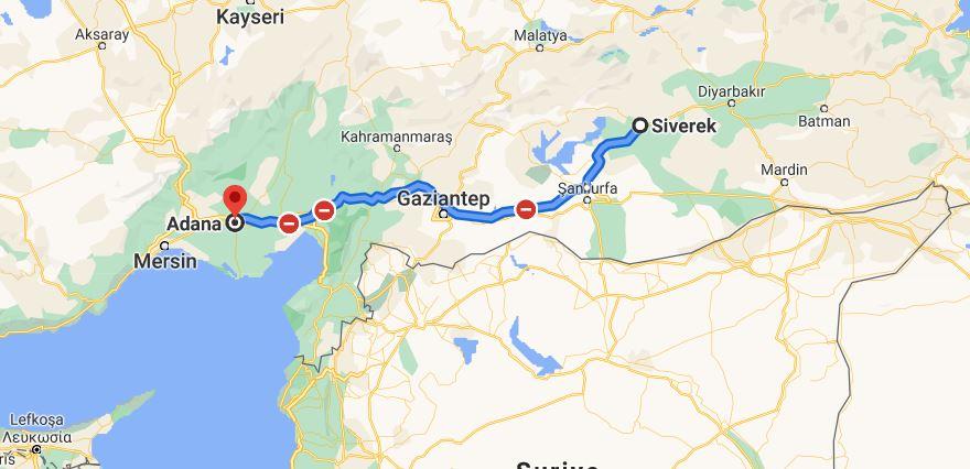 Siverek Adana Arası Kaç KM