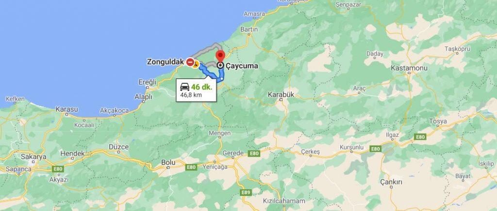 Zonguldak Çaycuma Arası Kaç KM