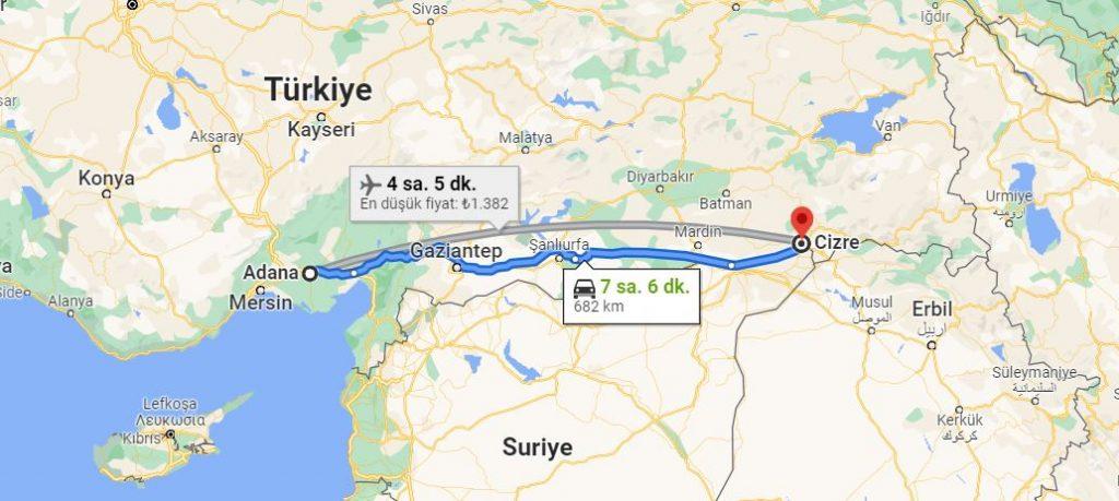 Adana Cizre Arası Kaç KM