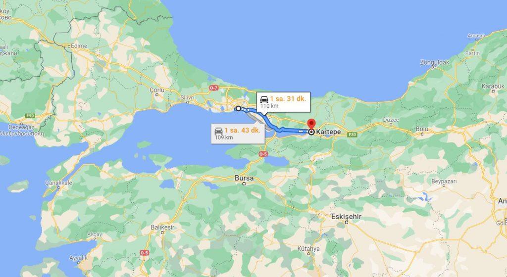 İstanbul Kartepe Arası Kaç KM