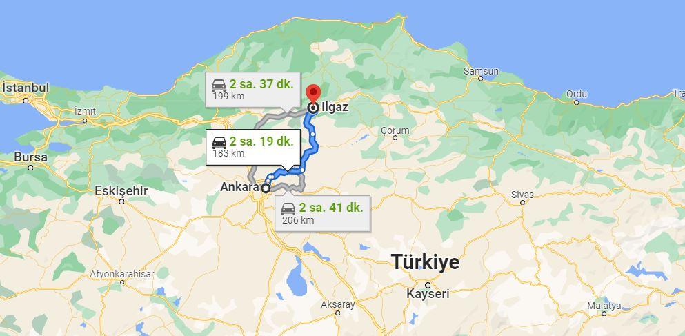 Ankara Ilgaz Arası Kaç KM