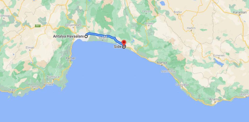Antalya Havalimanı Side Arası Kaç KM
