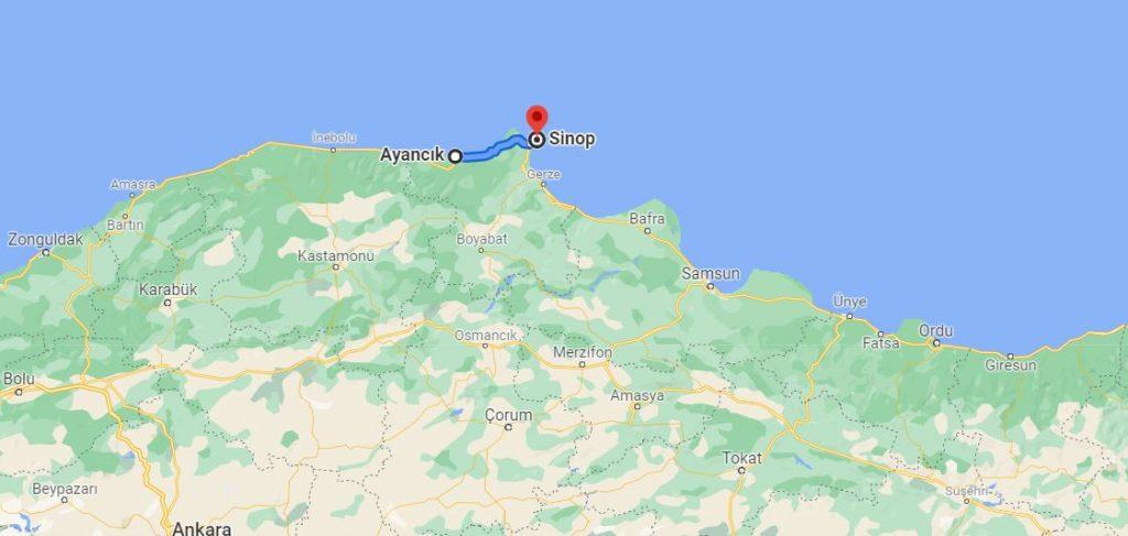 Ayancık Sinop Arası Kaç KM