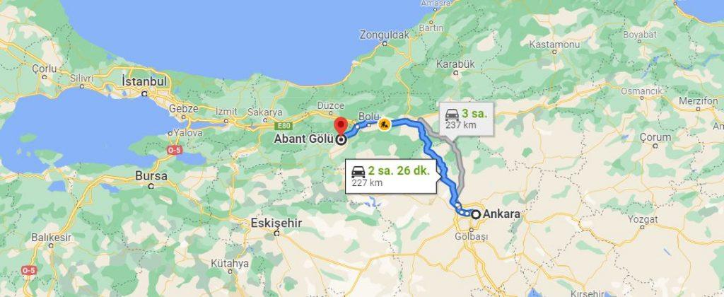 Ankara Abant Arası Kaç KM