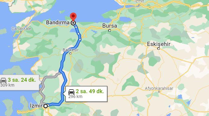 Bandırma İzmir Arası Kaç KM