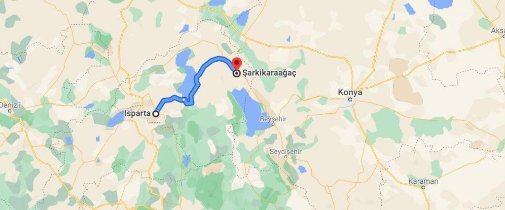 Isparta Şarkikaraağaç Arası Kaç KM