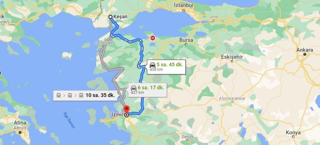Keşan İzmir Arası Kaç KM