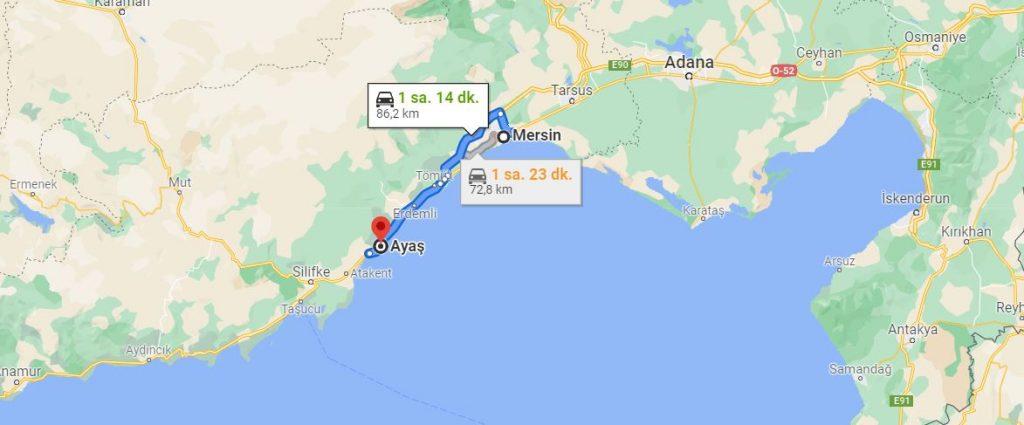 Mersin Ayaş Arası Kaç KM