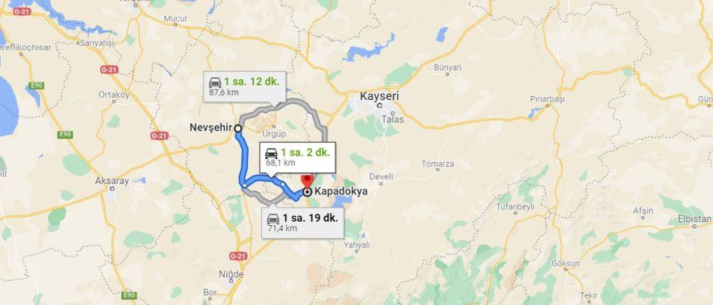 Nevşehir Kapadokya Arası Kaç KM