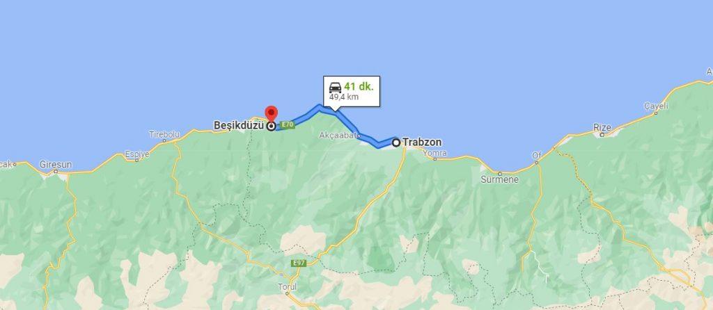 Trabzon Beşikdüzü Arası Kaç KM