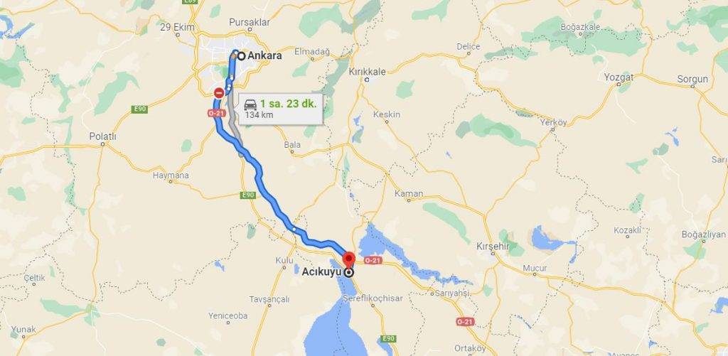 Tuz Gölü Ankara Arası Kaç KM