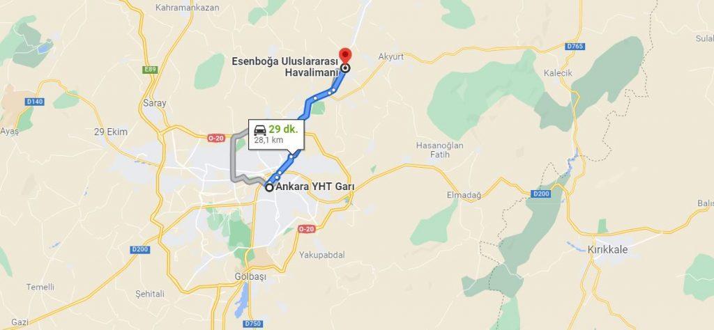 Ankara Garı Esenboğa Arası Kaç KM