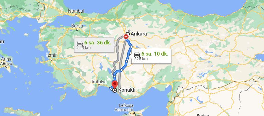 Ankara Konaklı Arası Kaç KM