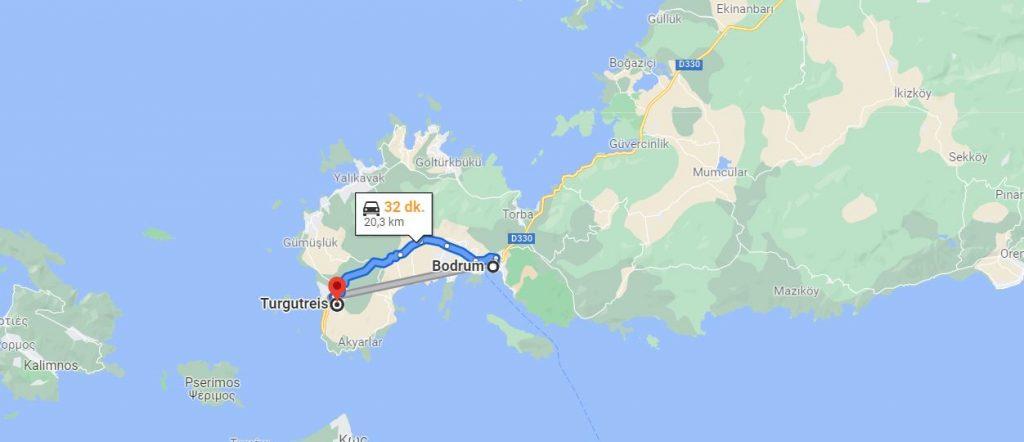 Bodrum Turgutreis Arası Kaç KM