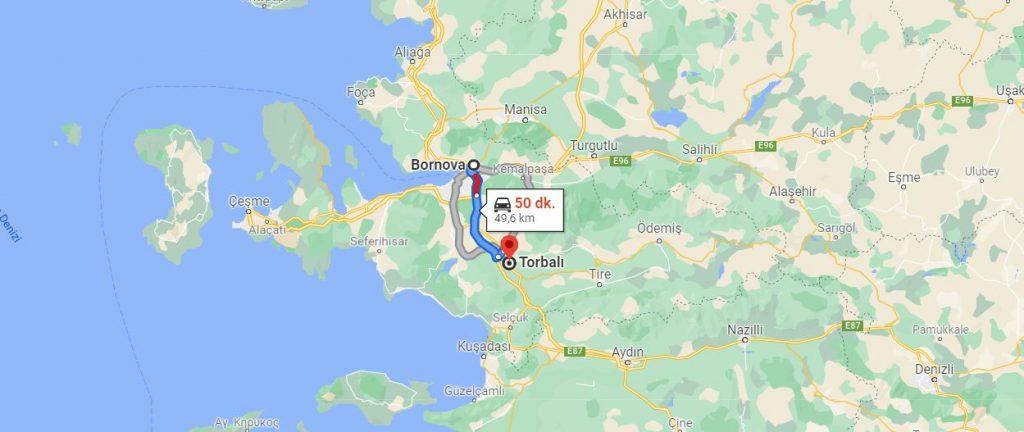 Bornova Torbalı Arası Kaç KM