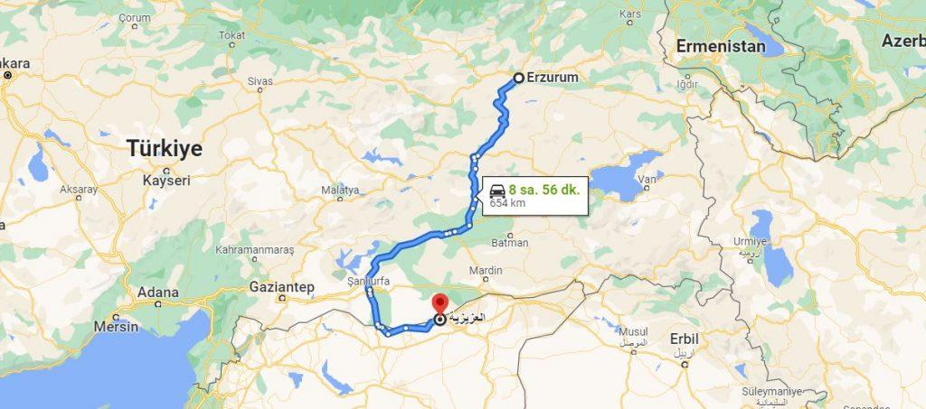 Erzurum Aziziye Arası Kaç KM