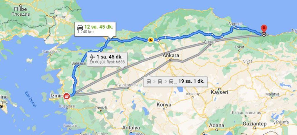İzmir Ordu Arası Kaç KM