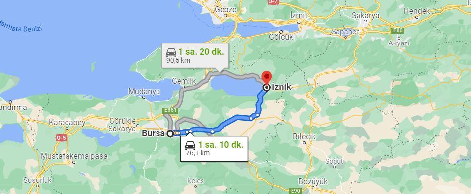 Bursa İznik Arası Kaç KM