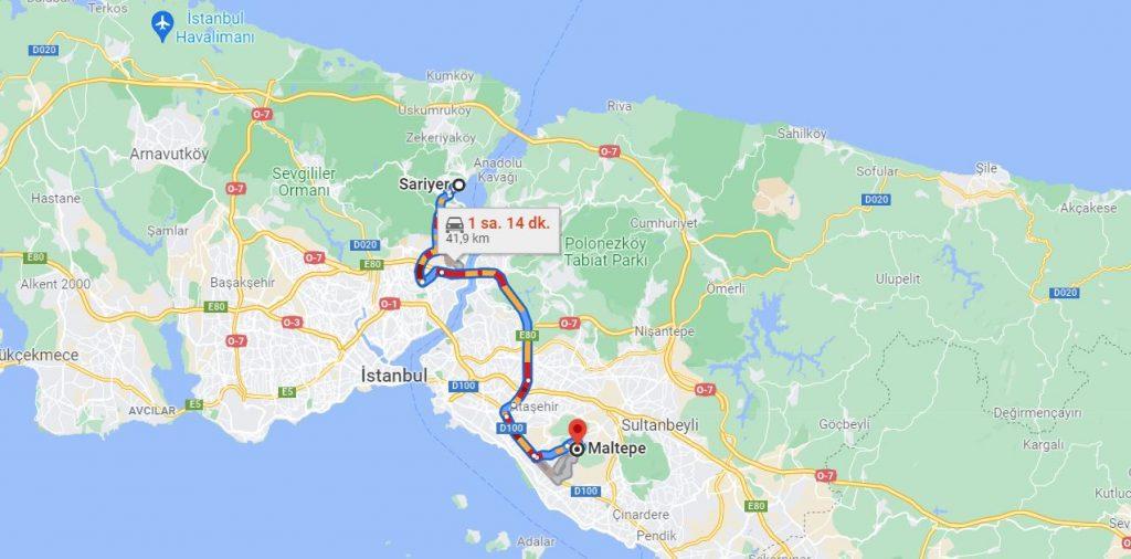 Sarıyer Maltepe Arası Kaç KM