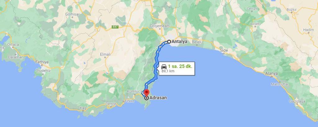 Antalya Adrasan Arası Kaç KM