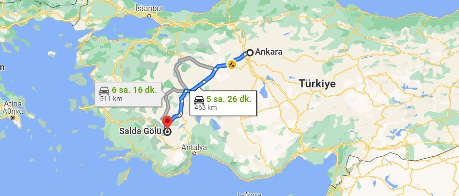Ankara Salda Gölü Arası Kaç KM