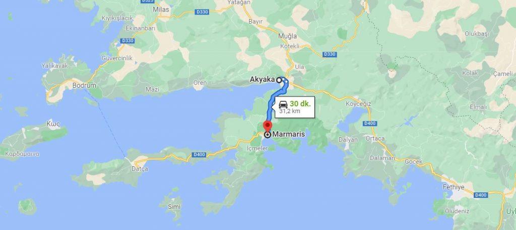 Akyaka Marmaris Arası Kaç KM
