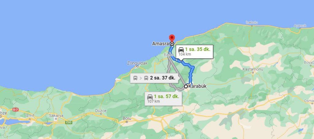 Amasra Karabük Arası Kaç KM